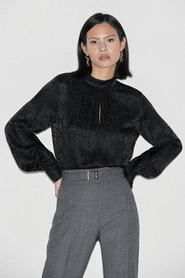 Black Label Silk High Neck Jacquard Blouse