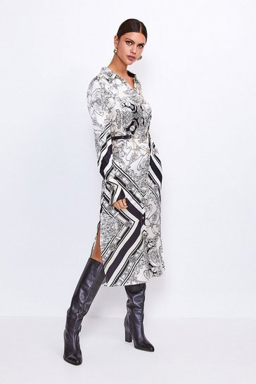 Black Silk Printed Shirt Dress