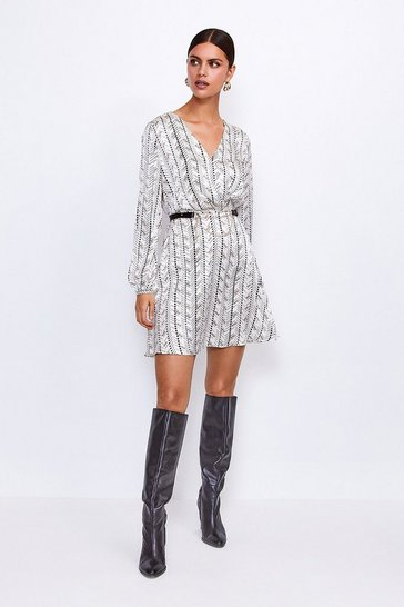White Printed Silk Front Wrap Dress