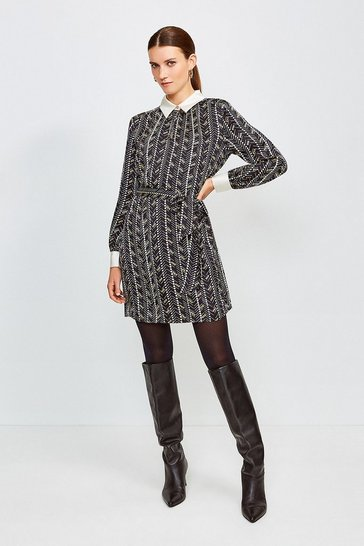 Black Silk Tie Waist Shirt Dress