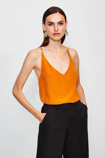 Orange Silk Cami