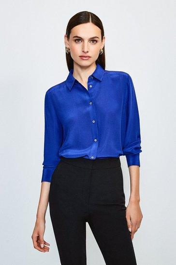Blue Silk Shirt