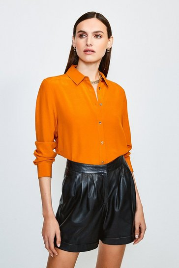 Orange Silk Shirt