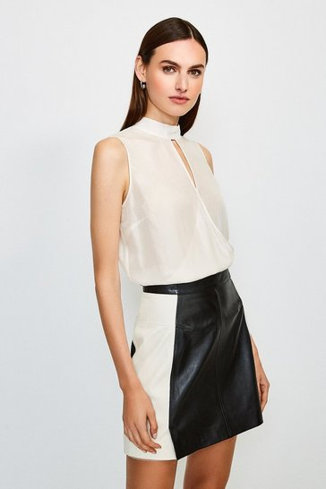 Ivory Silk Habotai Sleeveless Wrap Blouse