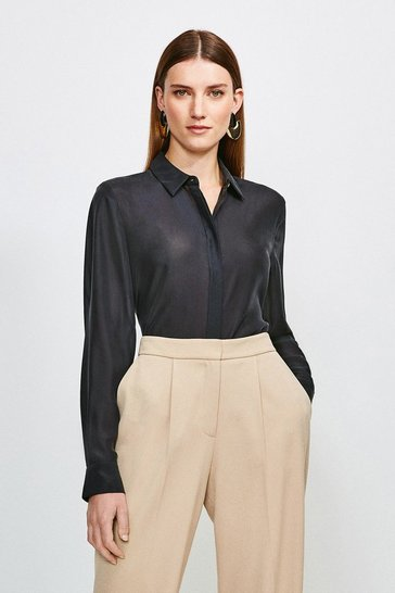 Black Silk Habotai Shirt