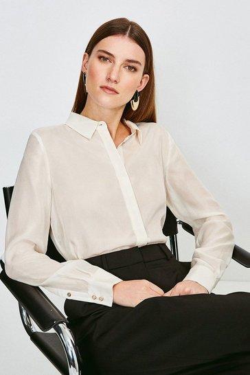 Ivory Silk Habotai Shirt