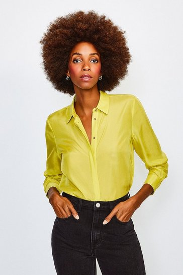 Lime Silk Habotai Shirt