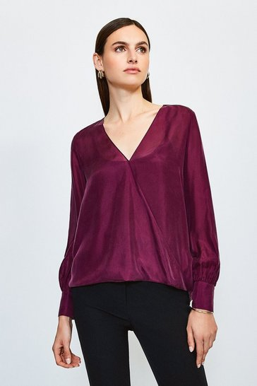 Plum Silk Habotai Wrap Blouse