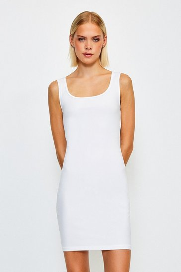 White Smooth Essential Scoop Neck Slip Dress