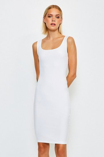 White Smooth Essential Scoop Neck Slip Midi Dress