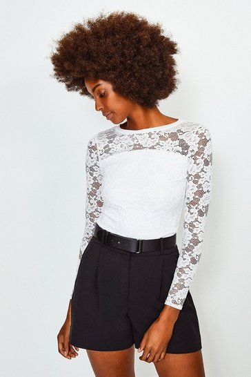 Ivory Lace Long Sleeve Jersey Top