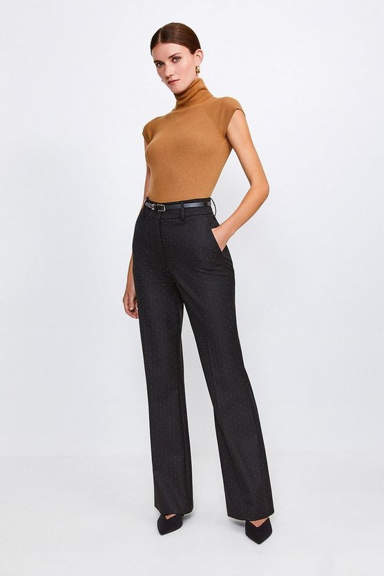 Black Pinspot Pleat Trousers