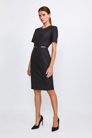 Black Pinspot Sleeved Shift Dress