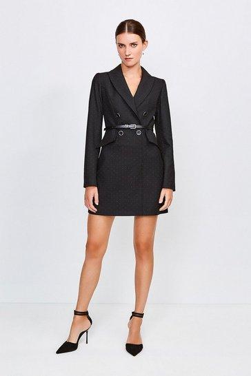 Black Pinspot Tux Dress