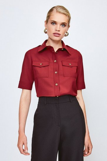Red Polished Stretch Wool Blend Short Sleeve Shirt