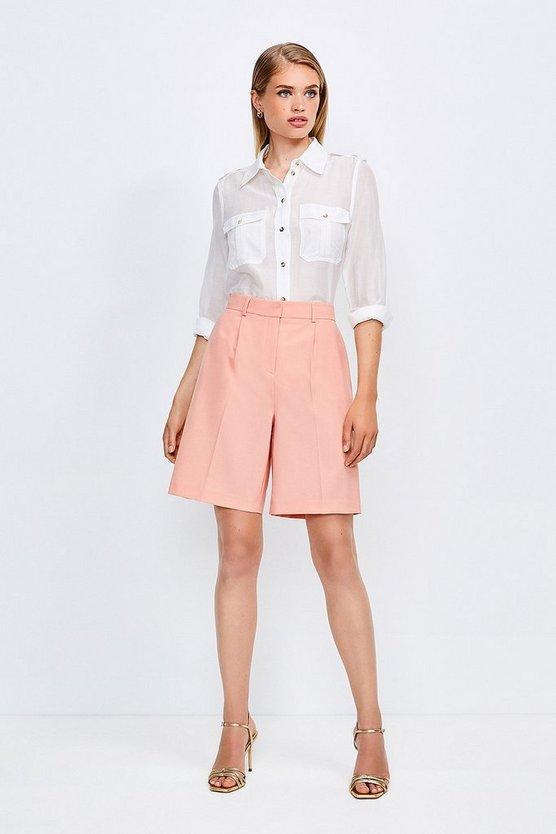 Apricot Polished Stretch Wool Blend Shorts