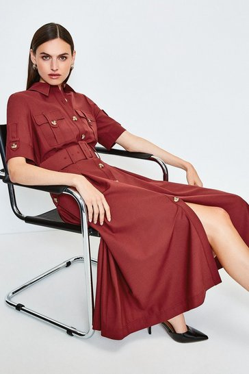 Red Polished Stretch Wool Blend Utility Dress