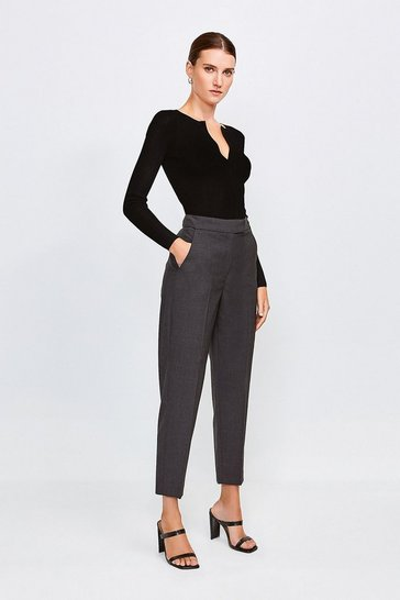 Charcoal Polished Stretch Wool Blend Tapered Trouser