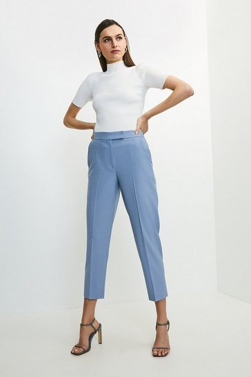 Pale blue Polished Stretch Wool Blend Tapered Trouser