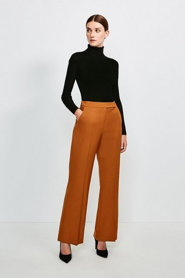 Tan Polished Stretch Wool Blend Wide Leg Trouser