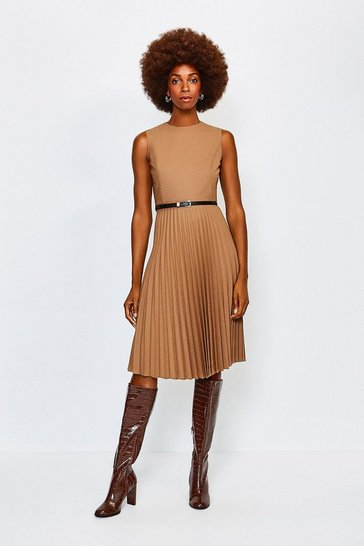 Camel Polished Stretch Wool Blend Pleated Dress