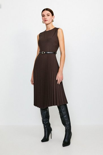 Chocolate Polished Stretch Wool Blend Pleated Dress