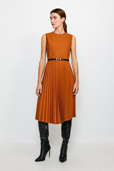 Tan Polished Stretch Wool Blend Pleated Dress