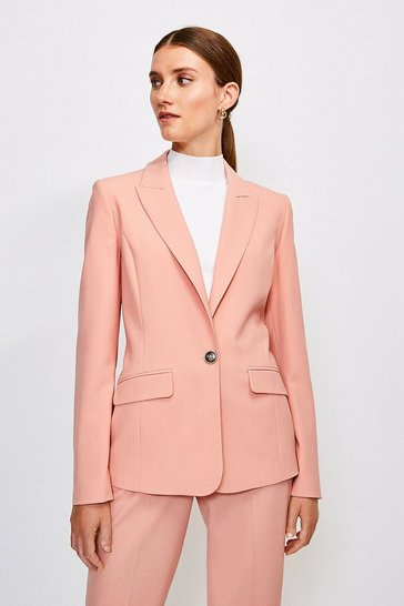 Apricot Polished Stretch Wool Blend Jacket