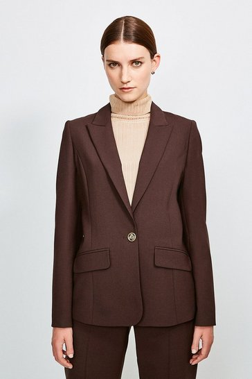 Chocolate Polished Stretch Wool Blend Jacket