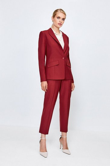 Red Polished Stretch Wool Blend Jacket