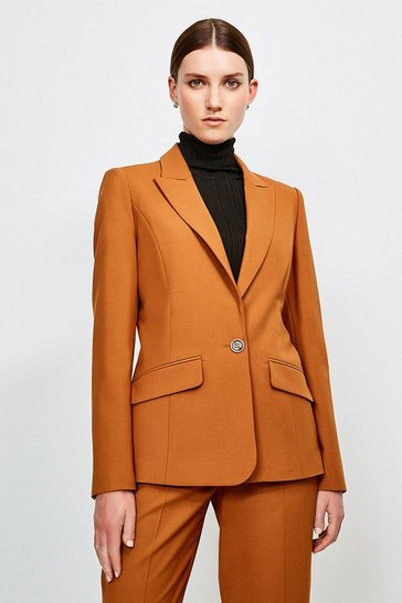 Tan Polished Stretch Wool Blend Jacket