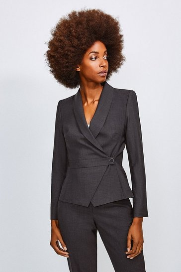 Charcoal Polished Stretch Wool Blend Wrap Jacket