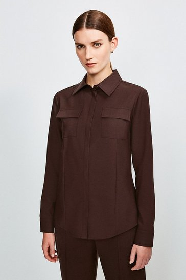 Chocolate Polished Stretch Wool Blend Long Sleeve Shirt