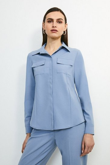 Pale blue Polished Stretch Wool Blend Long Sleeve Shirt