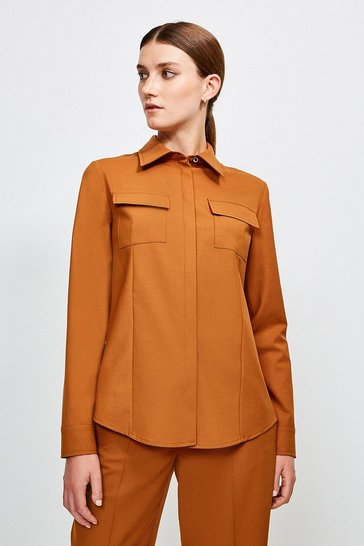 Tan Polished Stretch Wool Blend Long Sleeve Shirt