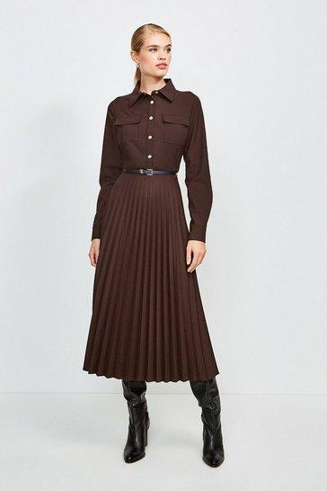 Chocolate Polished Stretch Wool Blend Shirt Dress