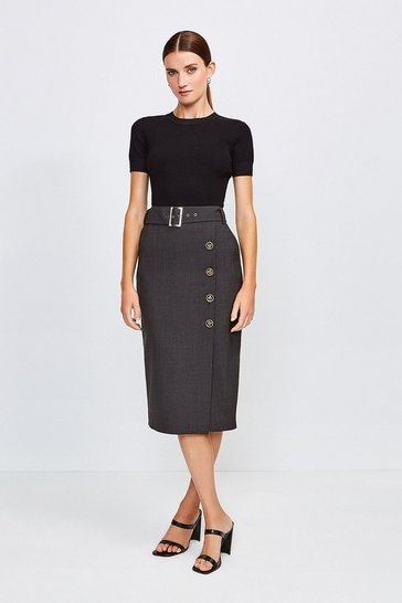 Charcoal Polished Stretch Wool Blend Pencil Skirt