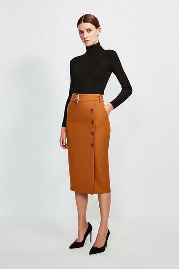 Tan Polished Stretch Wool Blend Pencil Skirt