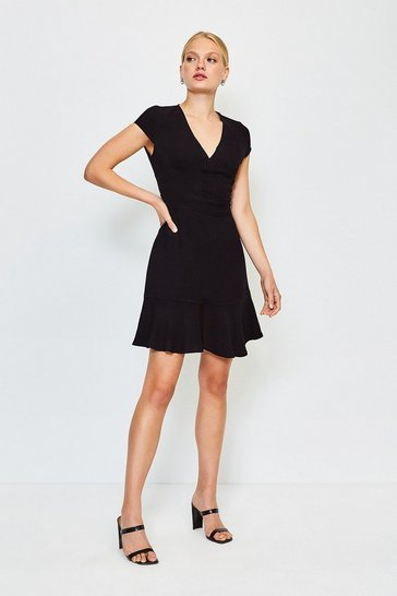 Black Topstitch V Neck Flippy Hem Dress