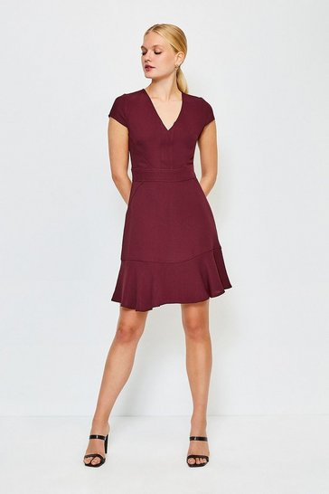 Brick Topstitch V Neck Flippy Hem Dress