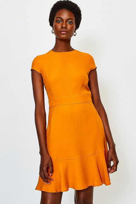 Orange Topstitch Flippy Hem Dress