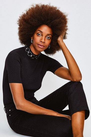 Black Chain Neck Funnel Knitted Top