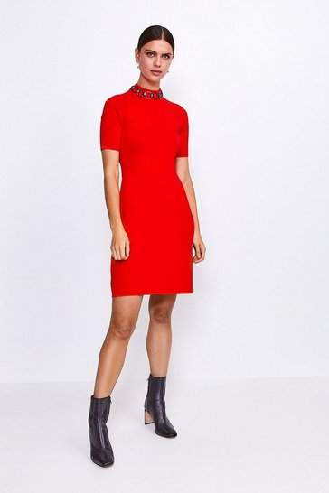 Red Chain Neck Knitted Dress