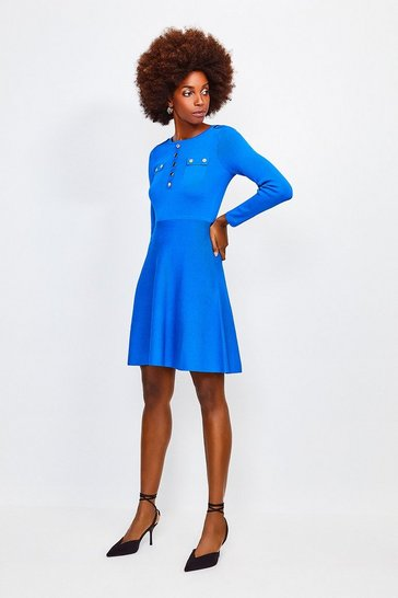 Cobalt Gold Button A Line Knitted Dress