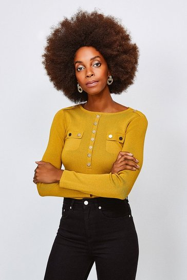 Olive Gold Button Long Sleeve Knitted Top