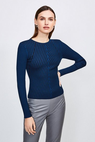 Blue Plated Skinny Rib Crew Neck Jumper