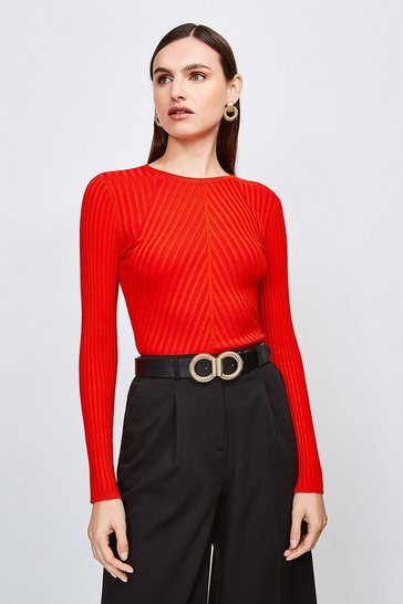 Red Plated Skinny Rib Crew Neck Jumper