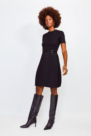 Black Pleated Knit Skirt Dress