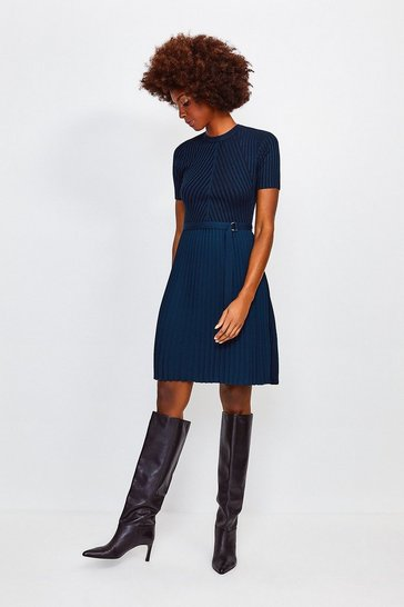 Blue Pleated Knit Skirt Dress