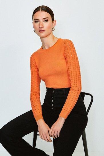 Orange Long Sleeve Skinny Rib Open Stitch Jumper